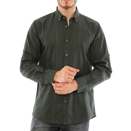 Giulio Button Down Shirt // Olive Green (Small)