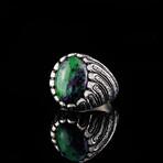 Hand Engraved Jade Ring (6.5)