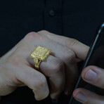 Hand Engraved Square Ring (8.5)