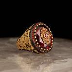 Elegant Red Stone Ring (7.5)