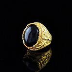 Gold Coated Onyx Ring (7.5)