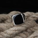Modern Design Black Stone Ring (5.5)