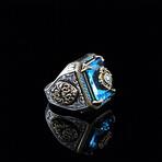Emerald Cut Blue Topaz Ring (5.5)
