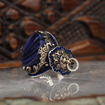 Solid Blue Amber Ring (8.5)