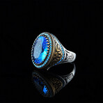 Blue Topaz + Turquoise Stones Ring (9)
