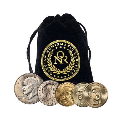 U.S. Modern Dollar Coin Collection // Set of 5 // Deluxe Collector's Pouch
