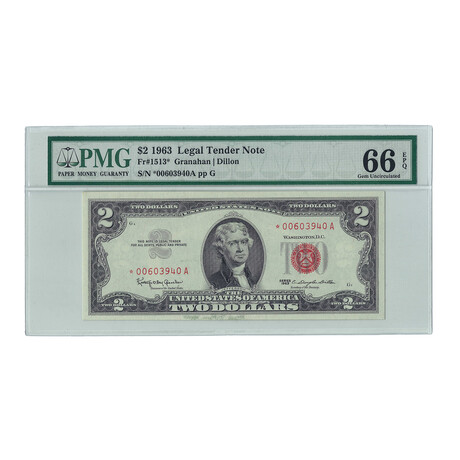 1963 $2 Small Size Legal Tender Note // Star Note // PMG Certified Gem Uncirculated 66 EPQ Condition