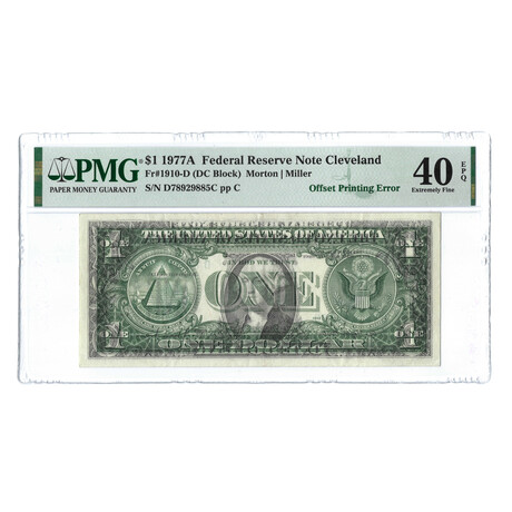 1977A $1 Federal Reserve Note // Offset Printing Error // PMG Certified Extra Fine 40 EPQ Condition