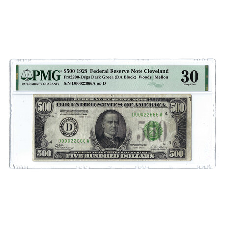 1928 $500 High Denomination Federal Reserve Note // PMG Certified Very Fine 30 Condition