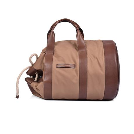 Brunello Cucinelli // Two Tone Bucket Bag // Brown + Beige