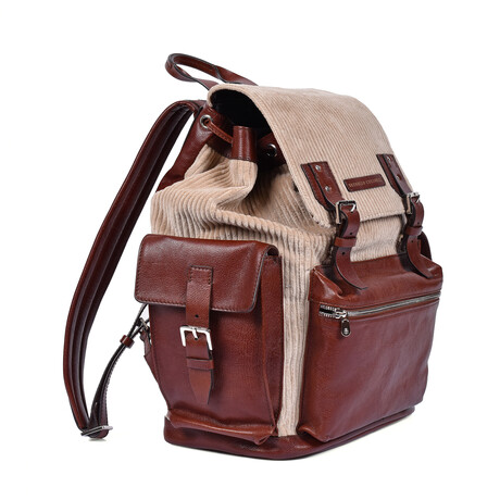 Brunello Cucinelli // Two Tone Backpack // Brown + Beige
