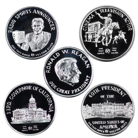 America's Great Presidents // Ronald Regan // 4-Piece Commemorative Silver Medal Collection