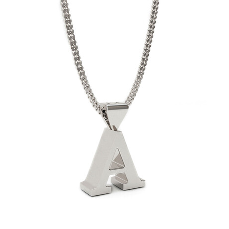 Bold Initial Pendant Necklace // Sterling Silver (Letter A)