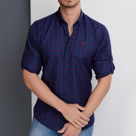 Diego Button Down Shirt // Dark Blue + Burgundy (Small)