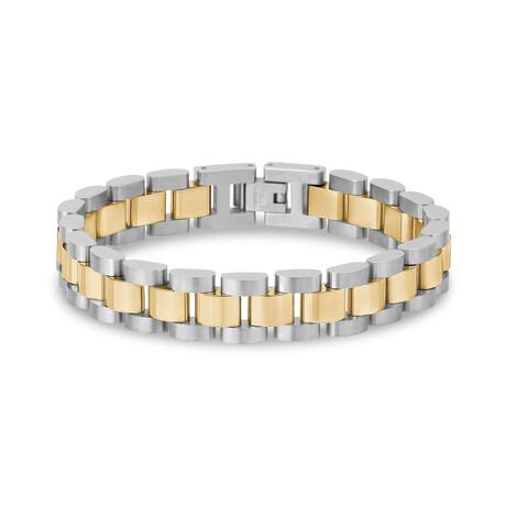 """Two-Tone Steel Watch Link Bracelet // 12mm // White + Yellow (7.5""""L)"""