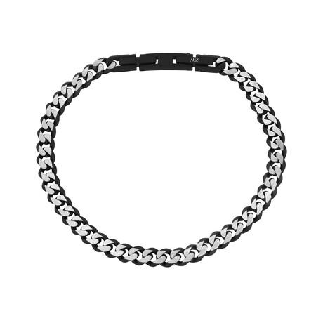 Cuban Link Bracelet // 5mm // Black + Steel (Medium)