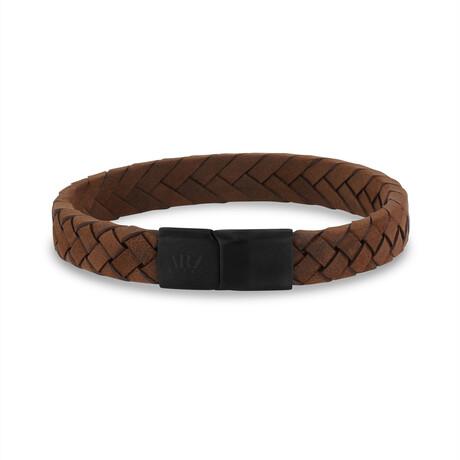 "Flat Leather Bracelet // 10mm // Brown (7.5"")"