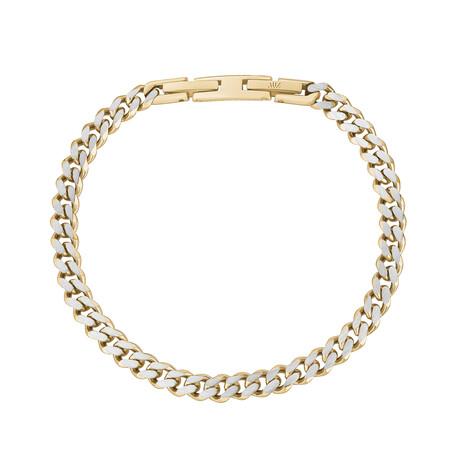 Cuban Link Bracelet // 5mm // Gold + Steel (Medium)
