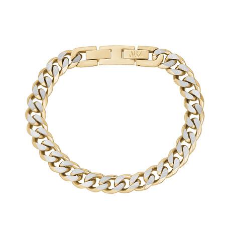Cuban Link Bracelet // 8mm // Gold + Steel (Medium)