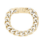 Cuban Link Bracelet // 15mm // Gold + Steel (Medium)