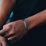 Cuban Link Bracelet // 8mm // Black + Steel (Medium)