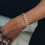 Cuban Link Bracelet // 11mm // Gold + Steel (Medium)