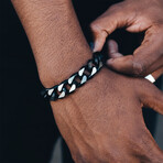 Cuban Link Bracelet // 15mm // Black + Steel (Medium)