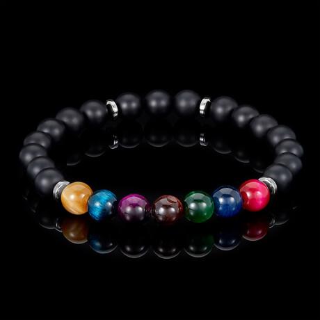 Multi-Tiger Eye + Matte Onyx Bead Stretch Bracelet // 8mm // Multicolor (Small)