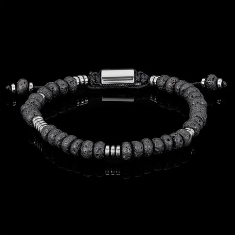 Amazonite Rondelle Beads + Hematite Disc Beads Adjustable Cord Tie Bracelet