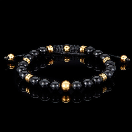 Polished Natural Stone + Gold Plated Steel Adjustable Cord Tie Bracelet // 8mm (Onyx)