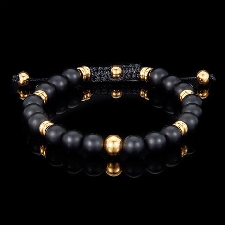 Matte Agate + Gold Plated Steel Adjustable Cord Tie Bracelet // 8mm // Black