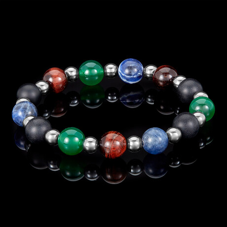 Gunmetal Hematite + Tigers Eye + Sodalite + Agate + Matte Onyx Stretch Bracelet // 10mm // Multicolor