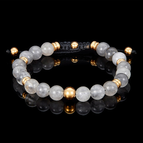 Cloud Crystal Quartz + Gold Plated Steel Adjustable Cord Tie Bracelet // 8mm // Gray
