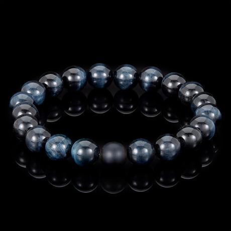 Polished Midnight Tiger Eye + Matte Onyx Bead Stretch Bracelet // 10mm // Blue + Black