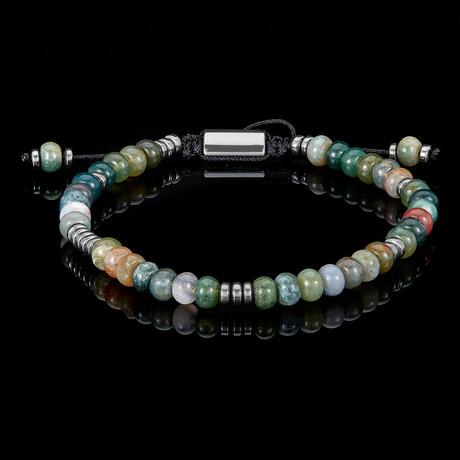 Indian Agate Rondelle Beads + Hematite Disc Beads Adjustable Cord Tie Bracelet // Green + Gray