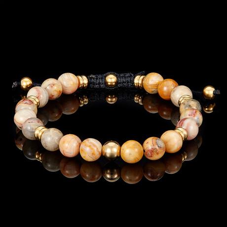 Crazy Lace Agate + Gold Plated Steel Adjustable Cord Tie Bracelet // 8mm // Orange