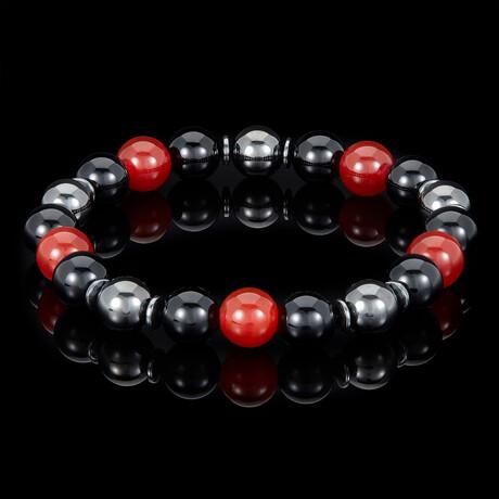 Shiny Onyx + Magnetic Hematite Bracelet // 10mm (Imperial Jasper)