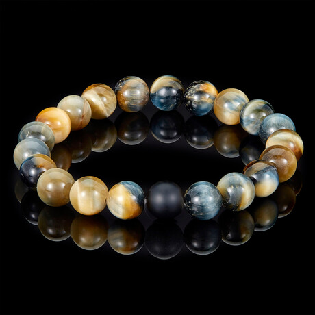 Polished Dream Tiger Eye + Matte Onyx Bead Stretch Bracelet // 10mm // Gold + Blue + Black