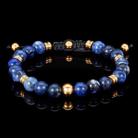 Sodalite + Gold Plated Steel Adjustable Cord Tie Bracelet // 8mm // Blue