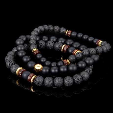 Matte Agate + Lava + Wood + Hematite Bead Stretch Bracelets // Set of 3 // Black + Gold
