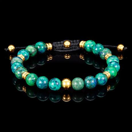Azurite Chrysocolla + Gold Plated Steel Adjustable Cord Tie Bracelet // 8mm // Green