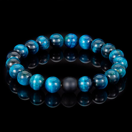 Aqua Tiger Eye + Matte Onyx Bead Stretch Bracelet // 10mm // Blue + Black