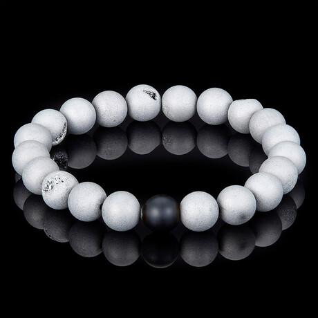 Silver Druzy Agate + Matte Onyx Bead Stretch Bracelet // 10mm // White + Black