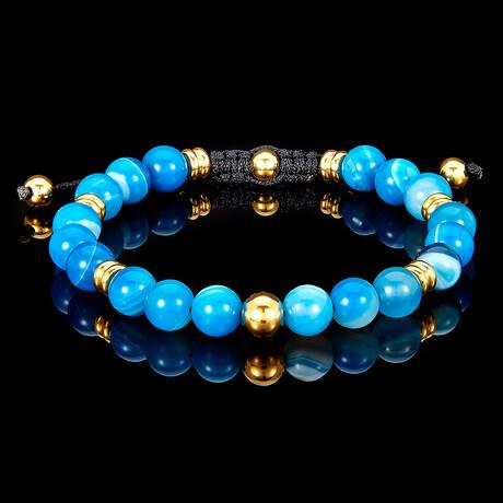 Agate + Gold Plated Steel Adjustable Cord Tie Bracelet // 8mm (Blue)