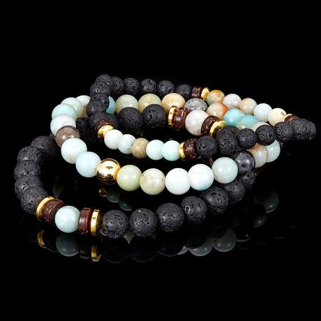 Amazonite + Lava + Wood + Gold Hematite Bead Stretch Bracelets // Set of 3 // Green + Black