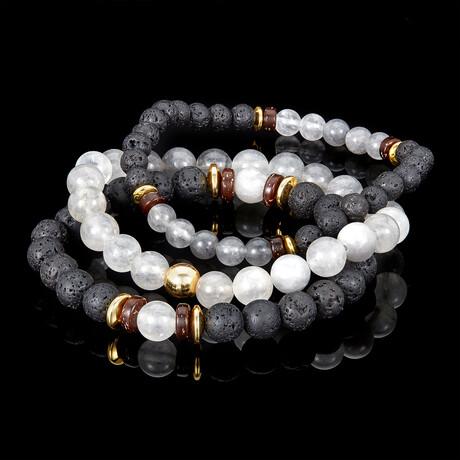 Cloud Crystal Quartz + Lava + Wood + Gold Hematite Bead Stretch Bracelets // Set of 3 // Gray + Black
