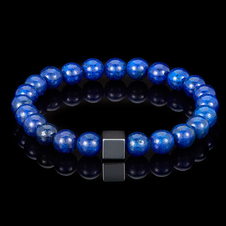 Hematite Cube + Natural Stone Stretch Bracelet // 8mm (Lapis Lazuli)