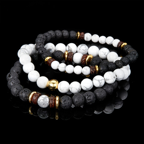 Marbled Imperial Jasper Natural Stone + Lava + Wood + Gold Hematite Bead Stretch Bracelets // Set of 3 (Turquoise)