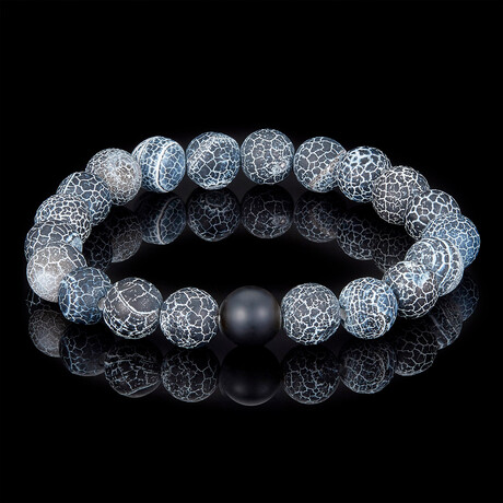 Agate + Black Matte Onyx Bead Stretch Bracelet // 10mm (Red)
