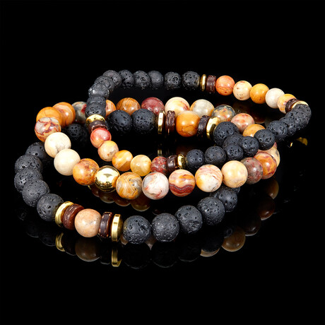 Crazy Lace Agate + Lava + Wood + Gold Hematite Bead Stretch Bracelets // Set of 3 // Orange + Black